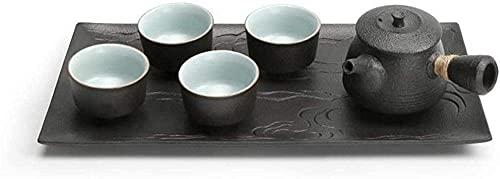 Bule de chá japonês, conjunto de chá Kungfu feito à mão, bule de chá de cerâmica saudável e 4 xícaras de chá, bandeja de chá