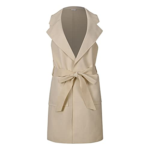 Women's Sleeveless Solid Color Single-Breasted Woolen Vest Coat Casual Open Front Cardigan Outerwear