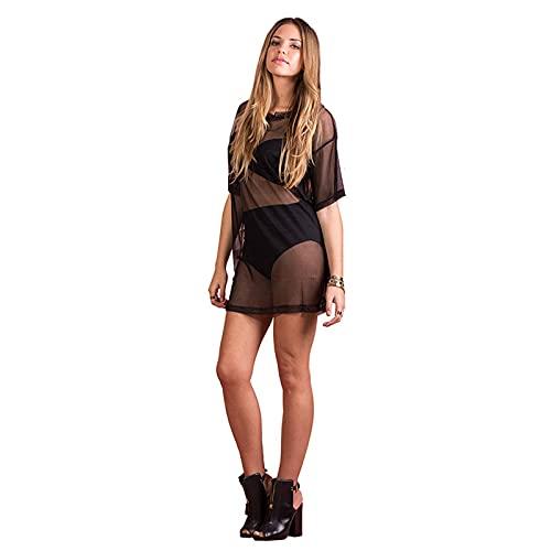 Burkashear Blusa ajustada transparente de verano para mujer, blusa de manga corta para mujer, vestido de bikini de malla transparente, vestido de playa para niñas Negro M