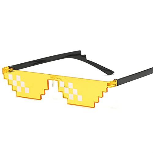 Gafas de Sol Pixelado Hombres Mujeres Partido Gafas Mosaico UV400 Gafas de Juguete de Regalo Unisex de Gafas Vintage (Color : 5, Size : F)