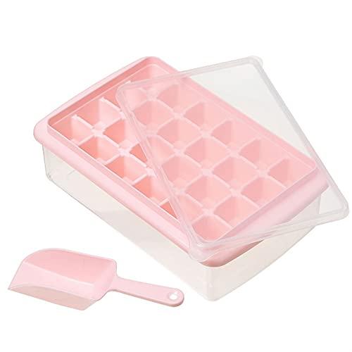 ZKP Bandeja de hielo de silicona con tapa, bandeja de cubitos de hielo 3 en 1 cuchara y tapa, hay 3 estilos de cuadrados 24/33/77, una variedad de colores para su elección (color: E)