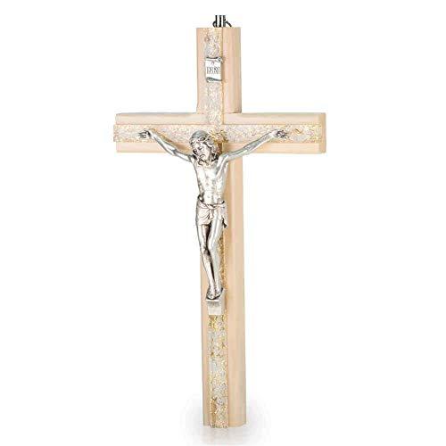 Wandkreuz Kruzifix Holzkreuz modern Holz hell Kreuz Plexiglas mit goldfarbenem Engelshaar Metallkorpus 20 cm