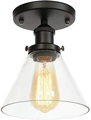 Lámpara de techo industrial de estilo vintage rústico con montaje semi empotrado, mini iluminación colgante retro, lámpara de techo colgante, acabado en bronce frotado con aceite, pantalla de lám