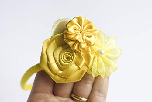 Golden Beam - Diadema de flores para niña - 3 ramo de flores hecho a mano - diadema de bebé a adulto amarillo Talla:talla única