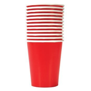 Party Color Paper Cups Red 9oz 24 Count