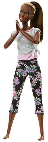 Barbie Made to Move Doll with 22 Joints, Dark Hair, Floral Yoga Pants and Gray Top