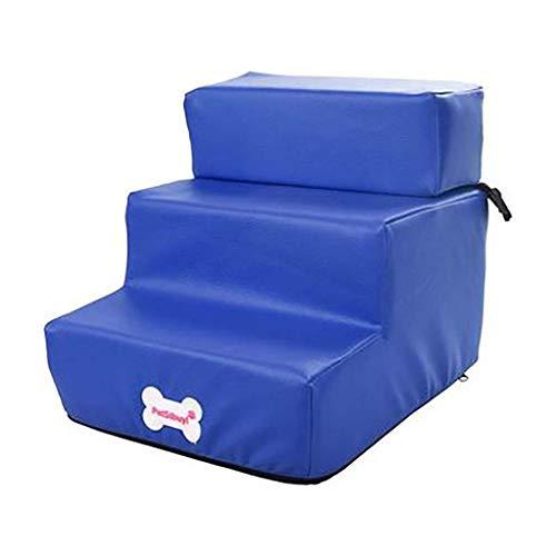 Sponge Hond Trappen,3 Stappen Huisdier Trappen Verwijderbare Cover Gemakkelijk te reinigen Hond Stappen Lichtgewicht Huisdier Bed Ladder Eenvoudige Klim Slaapbank Ladder 35.5x29.5x20cm(14x12x8inch) Blauw