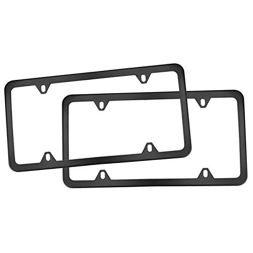 Nrpfell 4 Holes Steel License Plate Frames, 2 PCS Car Licence Slim Design with Black for US Vehicles
