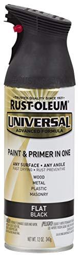 Rust-Oleum 245198 Surface, 12 oz, Flat Black Universal Enamel Spray Paint, 12 Ounce (Pack of 1)