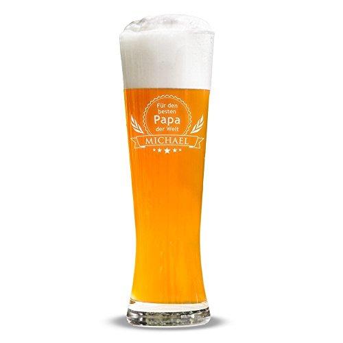 AMAVEL Weizenglas mit Gravur für den besten Papa der Welt, Personalisiert mit Namen, Geschenkidee für Männer, Füllmenge 0.5 l