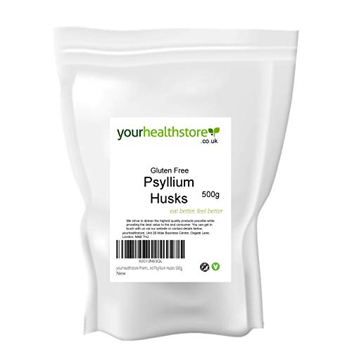 yourhealthstore Premium Blond Psyllium Husks 500g, Non GMO, Gluten Free, High in Fiber, Vegan, Husks Not Powder, (Recyclable Pouch)