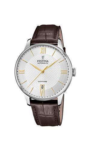 Festina Reloj Modelo F20484/2 de la colección AUTOMATICO, Caja de 41,5 mm Plata con Correa de Piel marrón Oscuro para Caballero