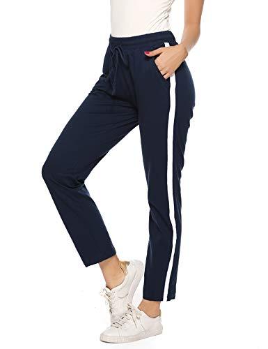 Aibrou Damen Sporthose Jogging Hose Lang Baumwolle Sportbekleidung Schlafanzughose Pyjamahose Nachtwäsche Blau-N M