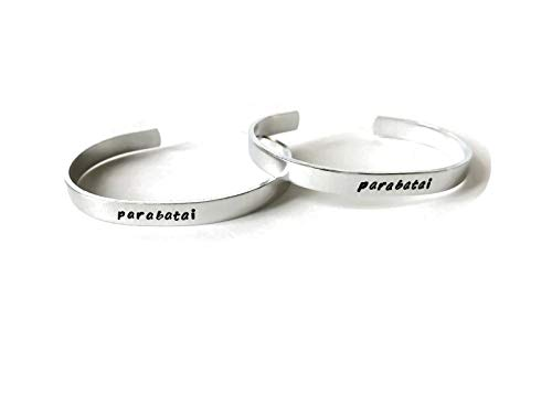 element avatar anime inspired 14 or 12 gague heavy aluminum cuff metal stamped bracelet pair