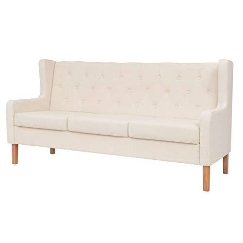 vidaXL Sofa 3-Sitzer Dreisitzer Stoffsofa Polstersofa Loungesofa Couch Polstermöbel Wohnzimmersofa Designsofa Stoff Cremeweiß Holzgestell