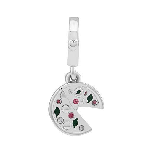 Funshopp - Ciondolo a forma di pizza, decorato con smalto verde e cristalli rossi, in argento 925, per braccialetti Pandora originali, gioiello alla moda per creazioni fai-da-te