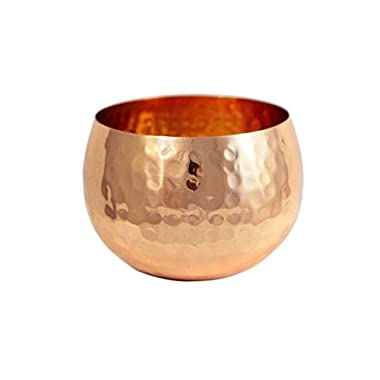 Premium Quality Medium Copper Decorative Bowl - 100% Pure Heavy Gauge Hammered Copper - By Alchemade - Rustic Antique Decor 16 oz Bowl