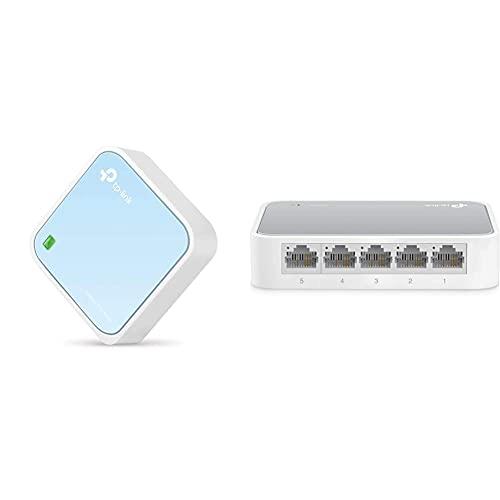 TP-Link TL-WR802N Nano Router N300 Wi-Fi Portatile, 300 Mbps, 1 Porta LAN/WAN & TL-SF1005D Switch Desktop, 5 Porte RJ45 10/100 Mbps, Plug & Play