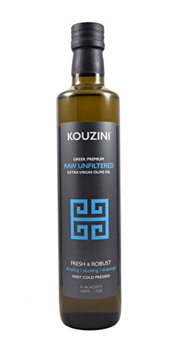 Unfiltered Raw Kouzini Extra Virgin Greek Olive Oil | First Cold Pressed | Current Harvest 2019/2020 | GOLD Medal NYIOOC | Family Owned