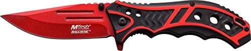 MTech USA Taschenmesser MT-A907 Serie, Messer DESIGNER BLACK/ ROT eloxierter ALU Griff, scharfes Jagdmesser, Outdoormesser 8,89 cm ROSTFREI ROT Klinge, Klappmesser für Angeln/ Jagd
