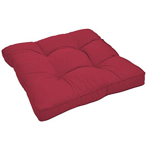 Beautissu Cojines para Muebles de jardín XLuna Lounge sillas de Mimbre de Exterior Asiento Grueso Acolchado Aprox. 50x50x10 cm Rojo