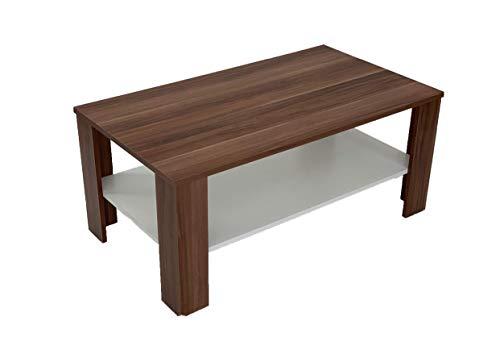 Möbel SD Couchtisch Wohnzimmertisch Kaffeetisch Nussbaum mit weißen Boden