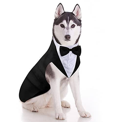 Esmoquin de Perro Set de Traje y Bandana de Perro Esmoquin Formal de Perros Traje de Fiesta Boda de Mascotas Camisa de Pajarita de Boda para Disfraces Cumpleaños Halloween (XXL)