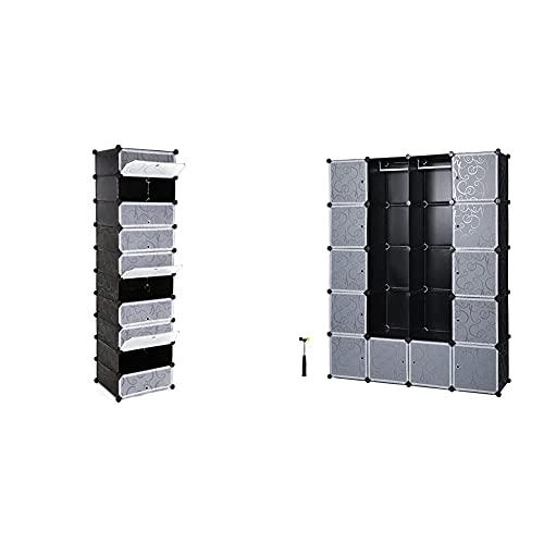 SONGMICS Schuhregal 10 Ebenen, DIY Schuhschrank mit Tür, Schuhablagen aus PP-Kunststoff, 48 x 36 x 173 cm, schwarz & Garderobe Kleiderschrank Mit 2 Kleiderstange, 143 x 36 x 178 cm, schwarz LPC30H