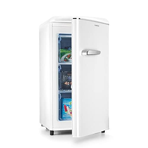 Klarstein Laika - Congelador, Termostato con 5 niveles, Temperaturas de 0 a -18 °C, 3 cajones extraíbles, CEE F, Capacidad de 60 L, Crema