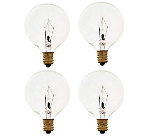 Sterl Lighting - Pack of 4 G16.5 Authentic Scentsy Full-Size Warmer , Chandelier Incandescent Light Bulb , 25 Watts , 120 Volts , E12 Candelabra Base , 2700K , 170 Lumen