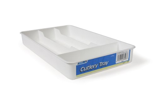 Camco Adjustable Cutlery Tray - Designed for RV and Compact Kitchen Drawers, Easily Organize and Store Kitchen Flatware -White (43508)