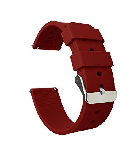 BARTON WATCH BANDS Silikon Schnellverschluß.- Wählen Sie Farbe & Breite (16mm, 18mm, 20mm or 22mm) karmesinrot 20mm Uhren Armband