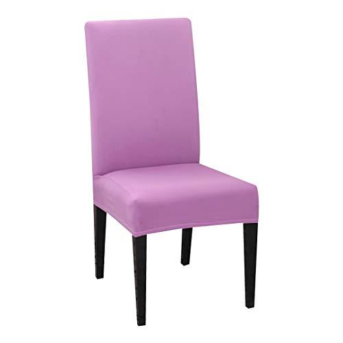 YIMEISON 1 funda de silla moderna de color liso del spandex elástico de la boda banquete de la silla cubre la silla de la boda púrpura