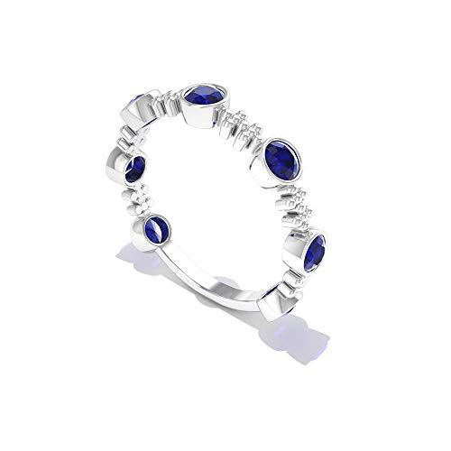 Ehering, 1,05 Karat Saphir, diffuses Gold, SGL-zertifizierter Edelstein Versprechen Ring, minimalistische Perlen Cluster Gravur Ring Jahrestag Statement Ring, 14K Weißes Gold, Size:EU 56