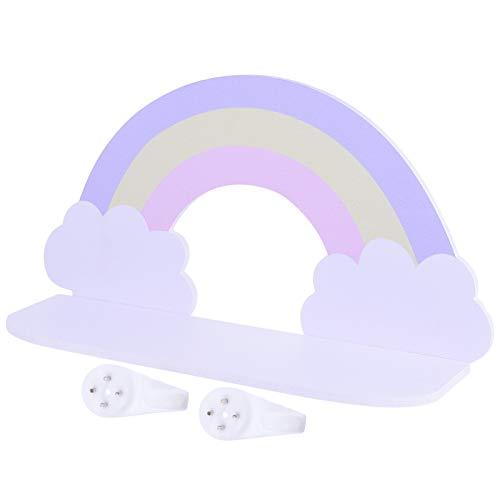 HEMOTON Estante de Nube Púrpura Estantes de Almacenamiento de Pared Estantes Flotantes de Madera Estante de Nube Montado en La Pared para Niños Dormitorio Sala de Estar Baño Cocina