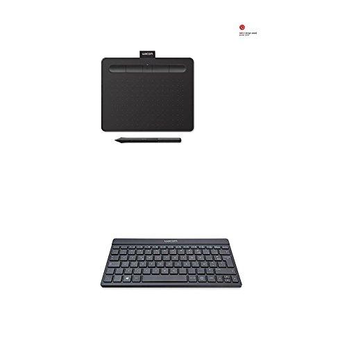 Wacom CTL-4100WLK-S Intuos Tavoletta Grafica con Penna, Software Creativo, Small, Bluetooth, Nero + Wacom Tastiera Bluetooth