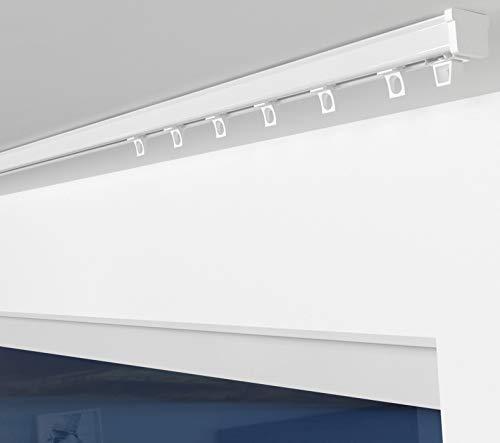 ALOHA Gardinenschiene aus Aluminium Vorhangschienen, Deckenbefestigung 1-läufig für Schiebevorhänge, Vorhänge (ITU / 1-läufig / 280cm / mit Ösengleiter / Weiß)
