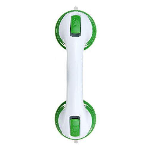 LYYCEU Griff Saugnapf Zuverlässige helfende Griff Badewanne Badezimmer Dusche Greifer Bar Handtürgriffe (Color : Green+White)