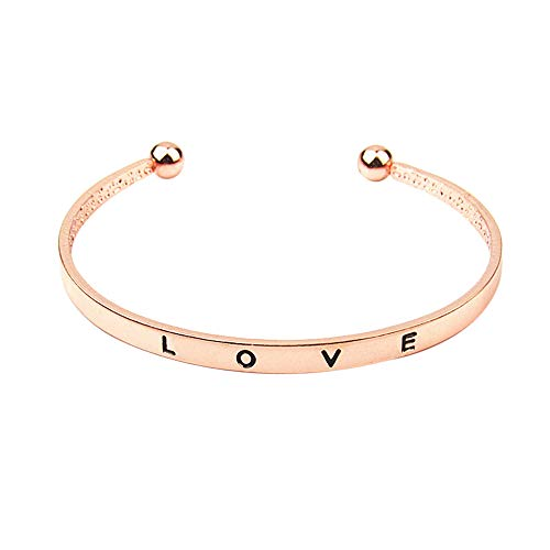 Letdown Accessories 1pcs Fashion Style Women Men's Hand Love Letter Cuff Bangle Jewelry Gift Under 5 Dollars for Lovers