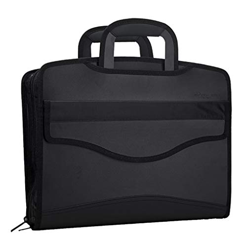 Business Document Bag Messenger Work Briefcase Waterproof Fabric Expanding File Folder Tote Travel Portfolio Document Holder Laptop Handbag Expanding Briefcase File Bag Case for Meeting Office & Home