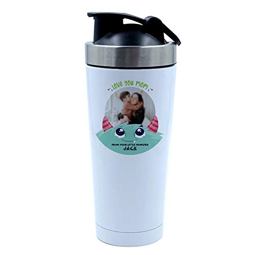 Personalised With Any Image/Text Love You Mom from Your Little Monster for Godmother, Mummy, Nanny, Grandma, 500ml Aluminium Shaker Bottle. (White)