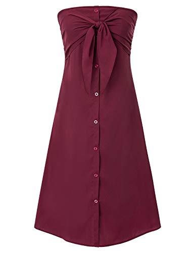 GRACE KARIN ärmellos Kleider einfarbig sexy Kleid weiß Bandeau Kleid elegant Kleid XL CL2491-2