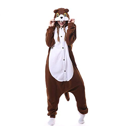 FZH Pijama Ardilla marrón Kigurumi Adultos Onesies Mujeres Hombres Dibujos Animados Pijamas Combinados Juego de Roles Animal Halloween Cosplay Disfraz-Ardilla_L