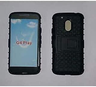 RSINC Dual Layer Rugged Tough Black Back Kickstand Case for Moto G4 Play - Black