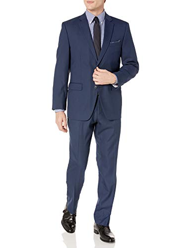 Perry Ellis Men's Two Piece Finished Bottom Slim Fit Suit, Blue Dobby, 36 Short