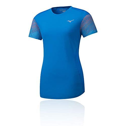 Mizuno Damen Aero T-Shirt-Blau, Grau, L