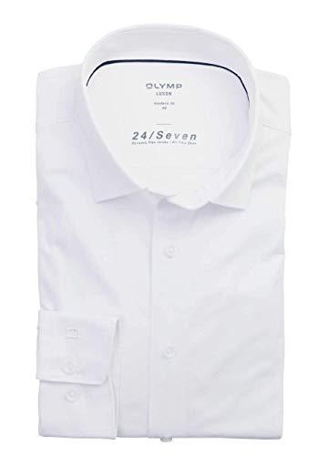 OLYMP Herren Oberhemd Langarm Luxor,Uni,modern fit,New Kent,Weiß 00,48