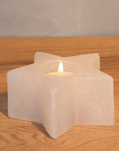 2 Bougeoir en forme d'étoile sel de gemme rose et blanc origine Himalaya