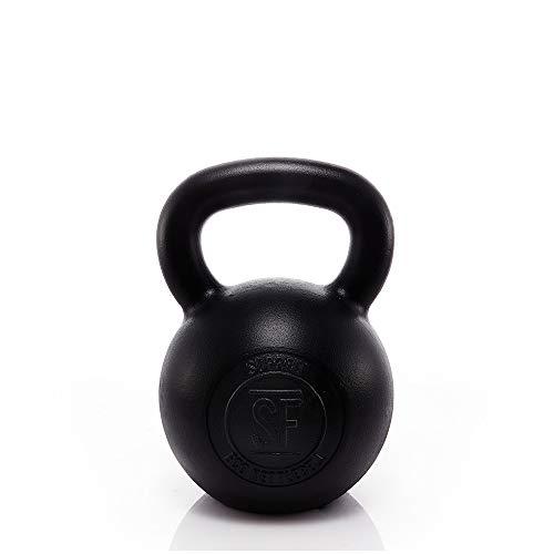 Suprfit Econ Kettlebell - Kugelhantel aus Gusseisen fürs Krafttraining und Cross Training, Gewicht: 32 kg, Schwunghantel geeigent zum Reißen, Stoßen und Drücken, Schwarz lackiert