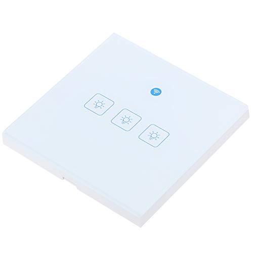 WiFi Touch Switch, AC 100-240 V Pastic Shell Telefonfernbedienungsschalter, Mehrbenutzerfreigabe für zu Hause(European style triple)